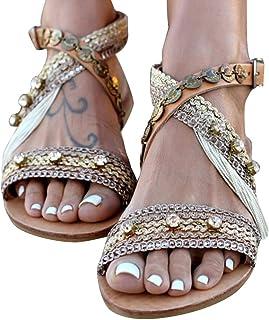 Damen Sandalen Flach Sandaletten Boho Strasssteine Sommer Slippers Flip Flops