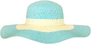Chic Headwear Large Paper Braid Floppy Sun Hat - Turquoise