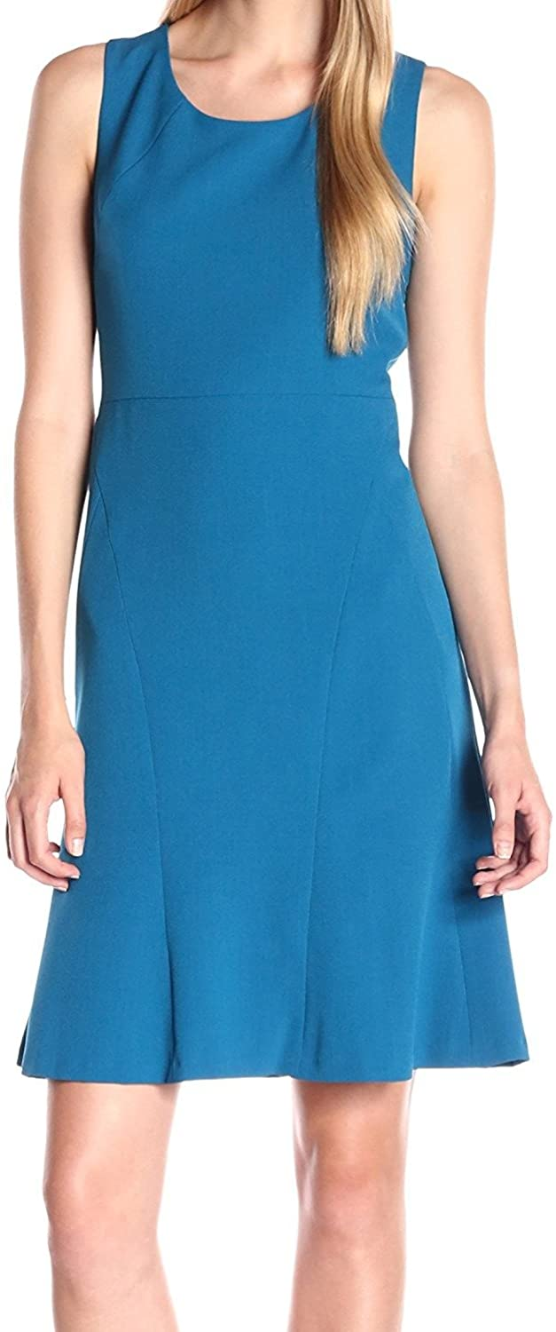 Kasper Women's Solid Stretch Crepe Fit and Flare Dress