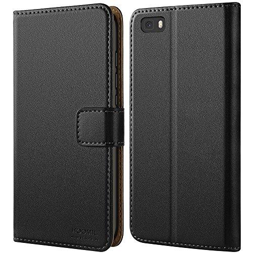 HOOMIL Handyhülle für Huawei P8 Lite Hülle, Premium PU Leder Flip Schutzhülle für Huawei P8 Lite Tasche, Schwarz