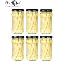 Favola Essentials Round Lug Glass Jar, Black Lid, 200 ml, Set of 6, Clear