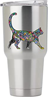 Cheerful Psychedelic Cat - 3 Inch Full Color Decal for Stainless Steel Tumbler - Proudly Made In The USA From Adhesive Vinyl (Tumbler NOT included)