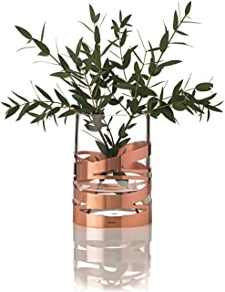 Stelton Tangle Vase - 16,5 cm, Designer Flowervase, Glass, Stainless Steel, Copper, x-56 by Stelton