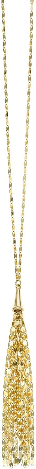 14K Yellow Gold Finish Chain Drop Element 75mm Shiny Lariat Necklace 24