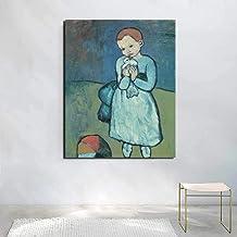 RuYun Niño con una Paloma Pablo Picasso Lienzo Pintura Impresiones Sala de Estar decoración del hogar Moderno Arte de la Pared Pintura al óleo Carteles 50cm x75cm No Frame