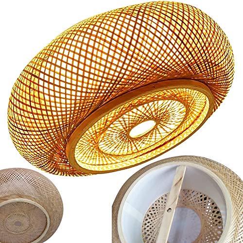Lámpara de Techo E27 Vintage Luz de Plafon Bambú Redondo de Dormitorio, apto para Bombillas LED máx 40W, Ø40cm Pantalla Hecha Mano, Ratan Mimbre Luces de Plafones Retro para Cocina Comedor Loft