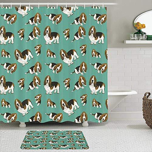 vhg8dweh Juegos de Cortinas de baño con alfombras Antideslizantes, Basset Hound de Dibujos Animados al Azar,con 12 Ganchos