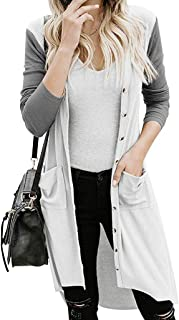 E-Scenery Women Christmas Long Cardigan Elk Print Button Down with Pockets Open Front Outerwear