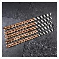 ステンレス鋼の木製箸セット再利用可能、丸い日本の寿司箸食器洗い機安全な滑り止め、クラシックスタイルの箸家庭用温かいギフト-C-5pair