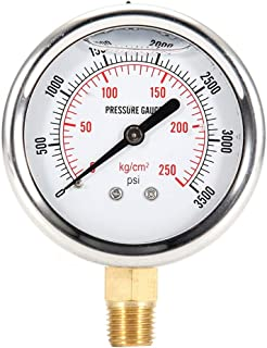 Suuonee Liquid Filled Pressure Gauge, Stainless Steel Silver 0-3500 PSI 55mm Hydraulic Liquid Filled Fuel Pressure Gauge