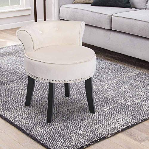 Beige Vanity Stool Chair with Roll Back for Kids Modern Velvet Makeup Dressing Table Stool Padded Bench Wood Legs for Lounge