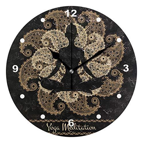SUNOP Uhr für Kinder, mit Öl Bedruckt, 1 Mandala-Meditations-Person Yoga, Wanduhren für Wohnzimmer, Schlafzimmer und Küche, Vintage Schreibtisch & Regal Uhren