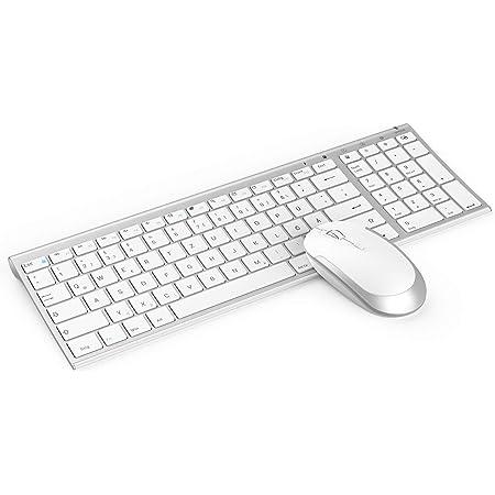 QWERTZ Deutsches Layout,Schwarz und Blau Kabellose Ultraslim Fullsize USB Tastatur Maus Kombi Wiederaufladbar f/ür Windows PC Jelly Comb 2.4G Funktastatur mit Maus Set Laptop