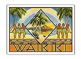 Pacifica Island Art Waikiki, Hawaii – Copertina di opuscolo di viaggio hawaiano – Poster vintage da viaggio hawaiano c.1943 – Stampa su carta opaca di alta qualità, 61 x 81 cm