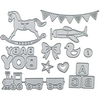 Cutting Dies CONSTR,Metal Embossing Stencil,Bear Banner Balloon Baby Cutting Dies DIY Scrapbook Paper Cards Decor Stencil Silver