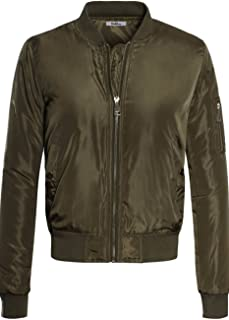 Women's Classic Padded Down Bomber Jacket with Zipper