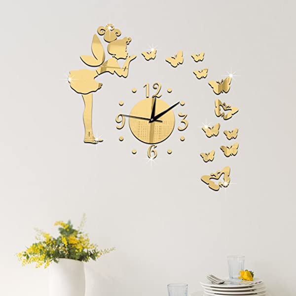 Ufengke 3D Angel Butterflies Mirror Effect Wall Clock Sticker Fashion Design Art Decals Creative Home Decoration Golden