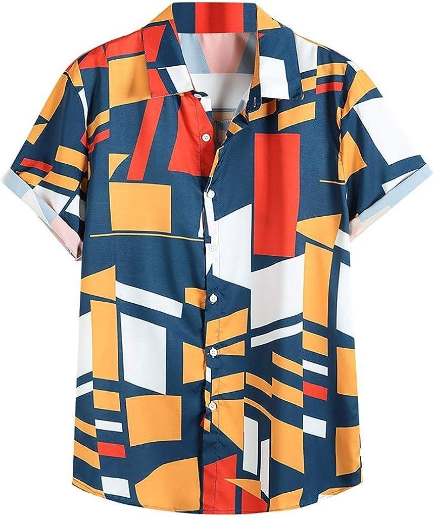 FUNEY Men's Regular-fit Short-Sleeve Poplin Shirt Casual Hawaiian Shirt for Men Geometric Printed Button Down Beach Shirts