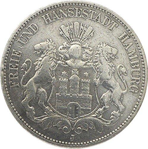 orig. 5 Mark Silbermünze 1876 A ss+/vz - Freie und Hansestadt Hamburg - Jäger Nr.97 - Münze Deutsches Reich
