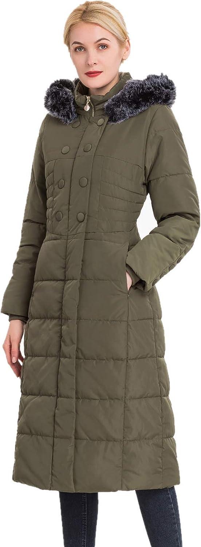 Polydeer Women's Vegan Down Hooded Jacket,Max Long Puffer Winter Warm Coat,Long-Sleeve Full-Zip Water-Resistant Thicken Parka