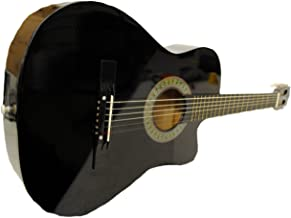 Full Size Acoustic Country/Bluegrass Cutaway Guitar with Gig Bag (Black)