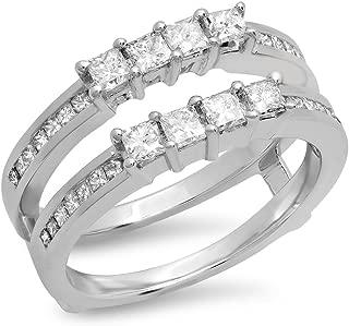 0.90 Carat (ctw) 14K Gold Princess Cut White Diamond Ladies Wedding Band Enhancer Guard Double Ring