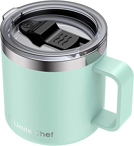 new arrival Stainless lowest Steel Insulated Coffee Mug Tumbler with Handle, Umite Chef 14oz Double Wall Vacuum Travel Tumbler Cup with online sale Sliding Lid Travel Friendly, Tiffany Blue online sale