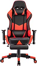Gaming Chair Racing Style, Ergonomic Design with Footrest Reclining Executive Computer Office Chair, Relieve Fatigue (Red)
