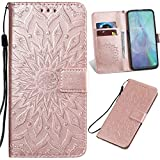 XYX Wallet Case Compatible with Motorola One 5G, Embossed Sunflower PU Leather Phone Protective Cover for Motorola Moto G 5G Plus (Rose Gold)