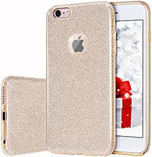 iPhone 6s Plus/6 Plus Case, MILPROX Bling Glitter Pretty Sparkle 3 Layer Hybrid Anti-Slick/Protective/Soft Slim TPU Case for Girls/Women iPhone 6s Plus / 6 Plus- Gold