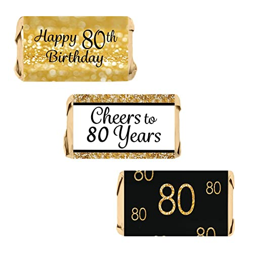 DISTINCTIVS 80th Birthday Party Miniatures Candy Bar Wrapper Stickers