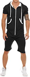 Mens Rompers Hooded Tracksuit Zipper One Piece Jumpsuit Casual Contrast Color Short Sleeve Comfy Playsuit Shorts