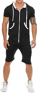 Men Hooded Tracksuit Zipper Jumpsuit Casual Contrast Color Short Sleeve Comfy Playsuit Shorts