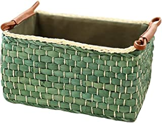 MUMA Storage Basket Rattan Weaving Willow PU Handle Durable Fashion Simple Home Supplies (Color : Green, Size : 362516cm)