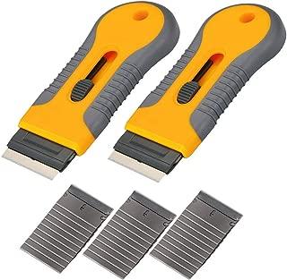 2PCS Razor Blade Scraper Glass Cooktop Scraper & Paint Scraper, Window Decal, Car Sticker and Glue Remover Razor Holder with 30 Extra Razor Blades