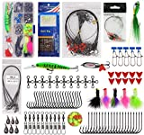 150pcs Saltwater Fishing Lures Surf Fishing Tackle Kit - Fishing Bait Rigs, Fishing Circle Hooks, Fishing Swivel Snaps, Hard Bait Minnow, Bucktail Jig, Metal Spoon, Sinker Weight, Various Accessories