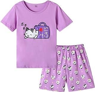 MyFav Young Girls Pajama Cute Cat Pattern Nighty Comfy Shorts Cotton Sleepwear