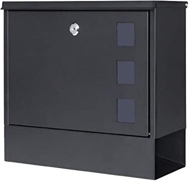 Locking Mailbox Wall Mounted Vertical– Jssmst mailboxes with Key Lock Large Capacity, 14.3 x 4.1 x 11.8 Inch, Black, SM-HPB91