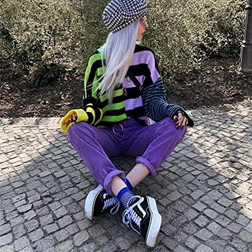 WRYIPSF Goth Dark Vintage Gótico Gótico Sujetadores De Rayas E-Girl Harajuku Punk Moda Color Bloqueo Estética Pullovers para Mujeres-como Se VIO_Metro