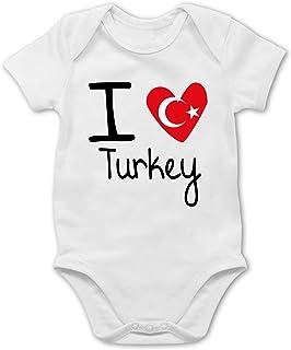 Shirtracer Städte & Länder Baby - I Love Turkey - Baby Body Kurzarm für Jungen und Mädchen
