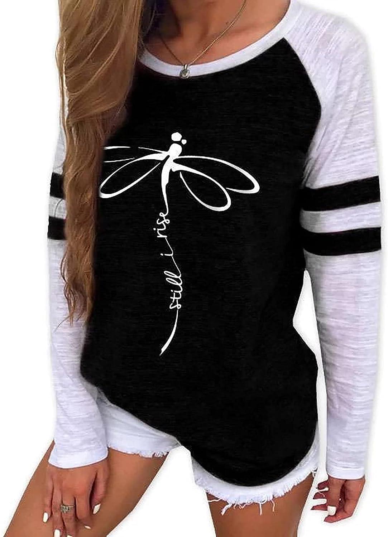 Womens Regular store Ranking TOP13 Tops Dressy Crewneck T-Shirts Casual Pri Dragonfly Trendy