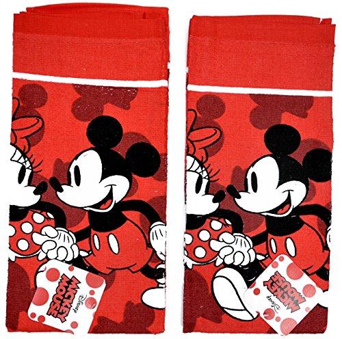 Disney Dish Towels 2 Piece Set Kitchen Cloth (Mickey Minnie Red)