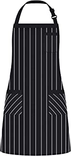 Syntus Adjustable Bib Apron with 3 Pockets Cooking Kitchen Aprons for Women Men Chef,BBQ Drawing, Black/White Pinstripe(1 Pack)