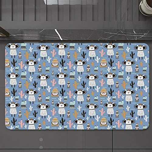 Alfombrilla de Baño Antideslizantes de 50X80 cm,Llama, lindas llamas con el tema de la sala , Tapete para el Piso Lavable a Máquina con Microfibras Suaves Absorbentes de Agua para Bañera, Ducha y Baño