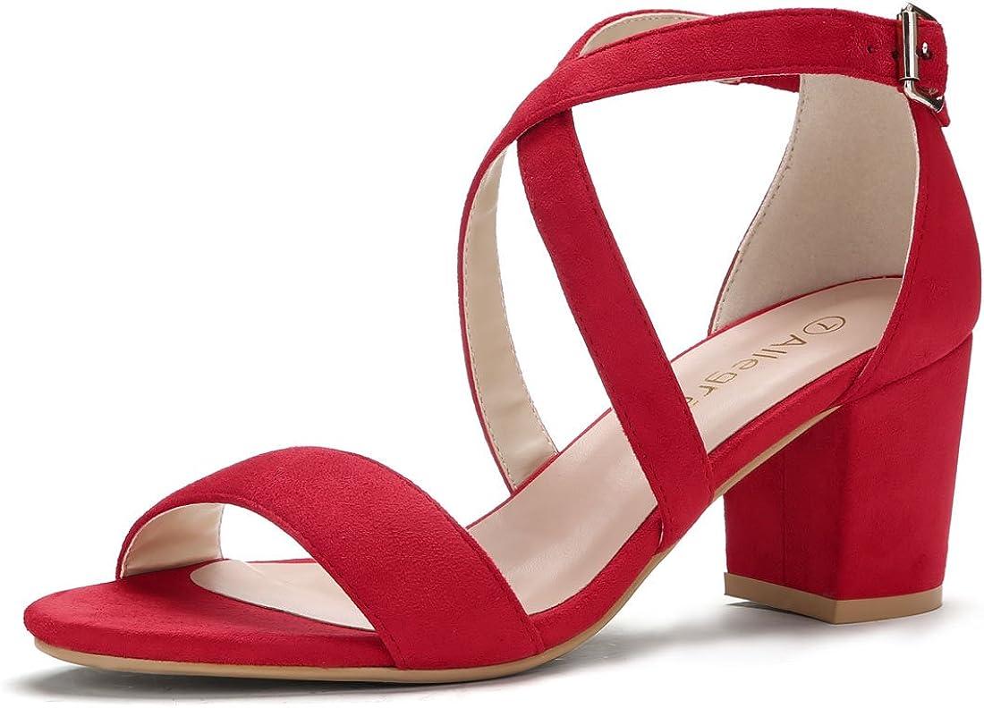 Allegra K Womens Crisscross Ankle Strap Block Heel Sandals