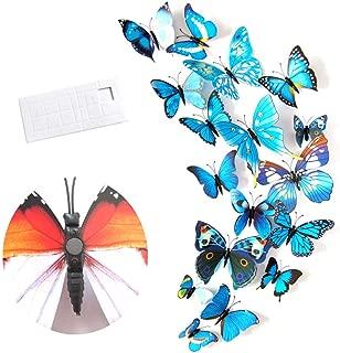 12pcs PVC 3D Butterfly Wall Decor Cute Butterflies Wall Stickers Art Decals Home Decoration Room Wall Art - Blue