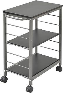 山善 キッチンワゴン 幅30×奥行50×高さ70cm 3段 棚板高さ調節可能 取っ手 ストッパー付きキャスター 手入れしやすい天板 組立品 ブラック/ブラウン MMG-7030C(BK/BR)