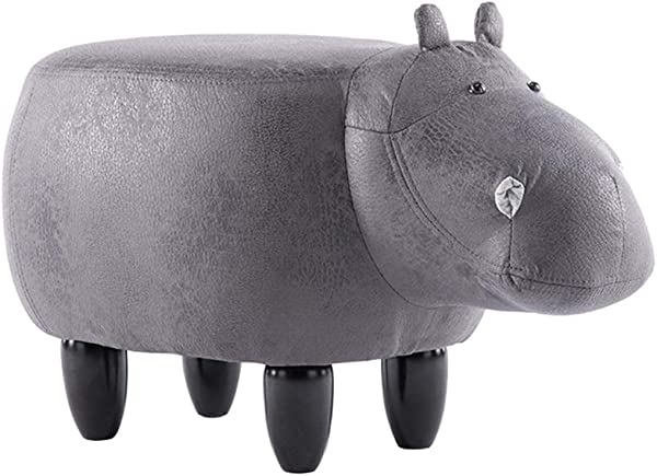 Household Stool Wood Fashion Creative Cute Children Hippo Living Room Bedroom Change Shoes Stool Multicolor Simple