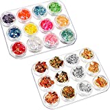 BBTO 24 Pack Halloween Nail Paillette Chip Foil Nail Glitter and Ice Mylar Shell Foil Slice Nail Art Design Decoration for Nails Art Eye Face Body Decorations DIY Crafts Halloween Party Decor