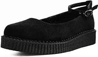T.U.K. Shoes A9416L Womens Creepers, Black Pointed Ballet Ankle Strap Creeper